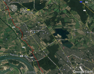 "Mögliche Route durch Voerde ""West"", Screenshot Google Earth"